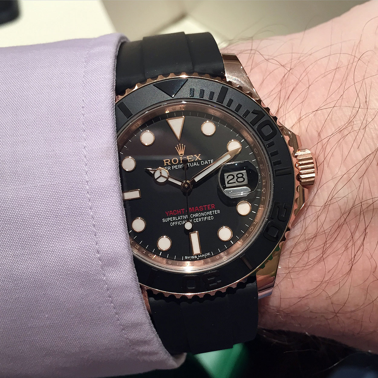 db37771e389 Hands-On – Rolex Yachtmaster Ref. 116655 Everose And Its Oysterflex ...