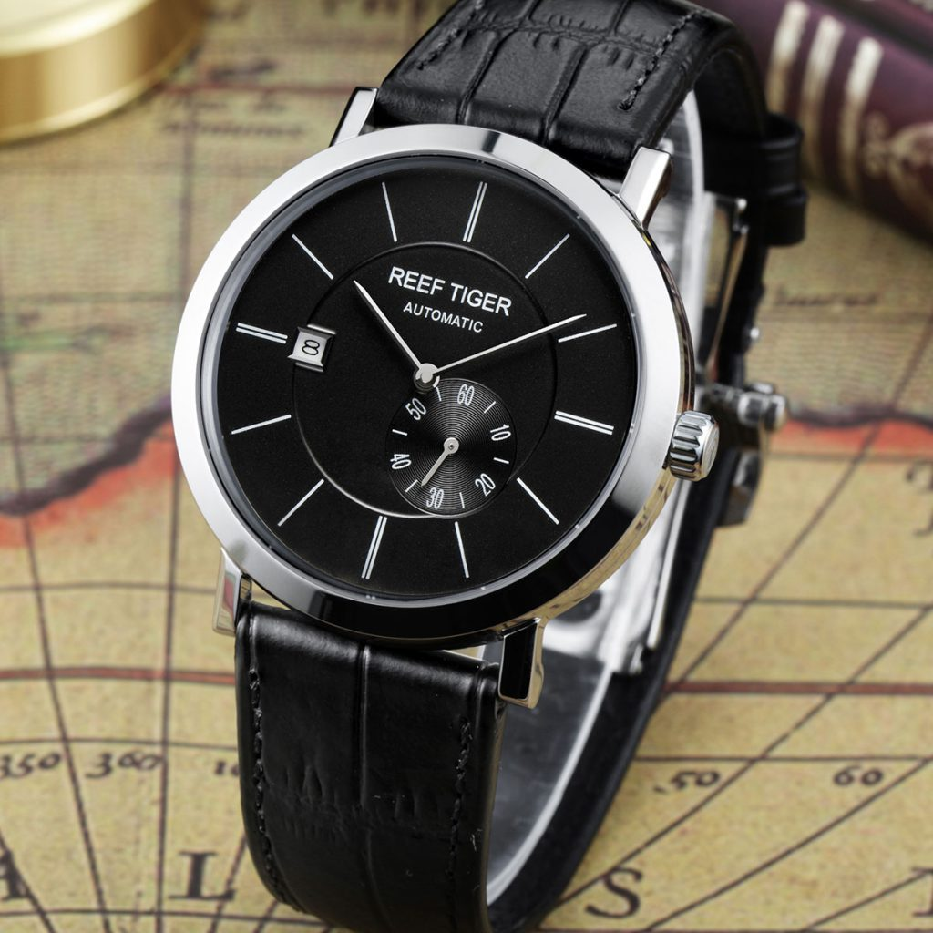 Representative Of Simple And Classic: Reef Tiger Classic Seattle Mountain Rainier Ultra-thin Automatic Business Watch