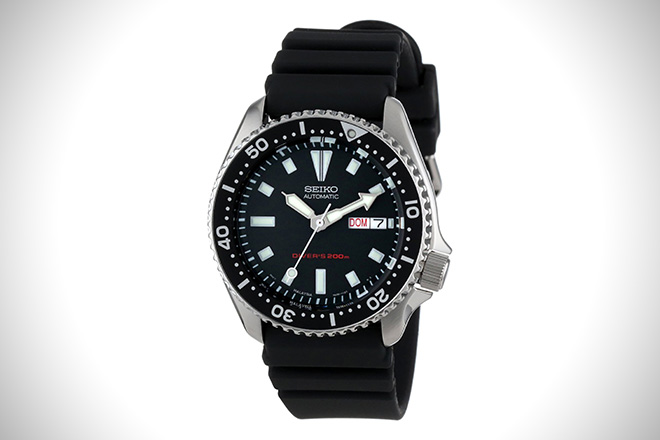 Seiko SKX173 Stainless Steel and Black Polyurethane Automatic Dive Watch