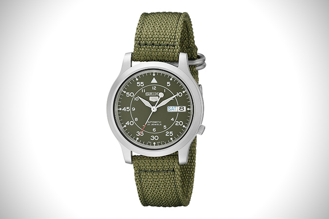Seiko SNK805 Automatic Stainless Steel Watch Green Canvas Strap