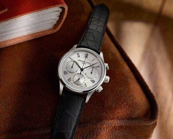 Frederique Constant Flyback_Chronograph Manufacture - steel - white dial - flat